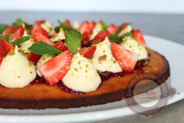 Tarte amande-fraise-pistache façon Christophe Michalak  { Affaires Pâtissières }
