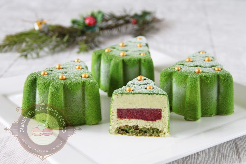 Entremets sapins de Noël (pistache griotte)
