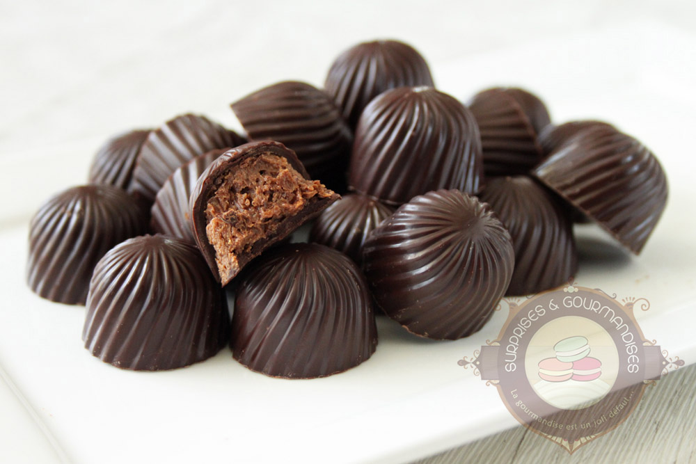Bonbons chocolat au praliné croustillant