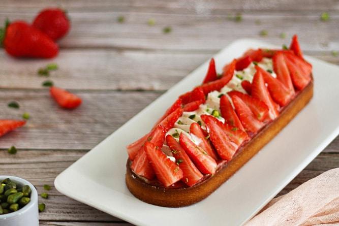 Tarte fraise, vanille et pistache
